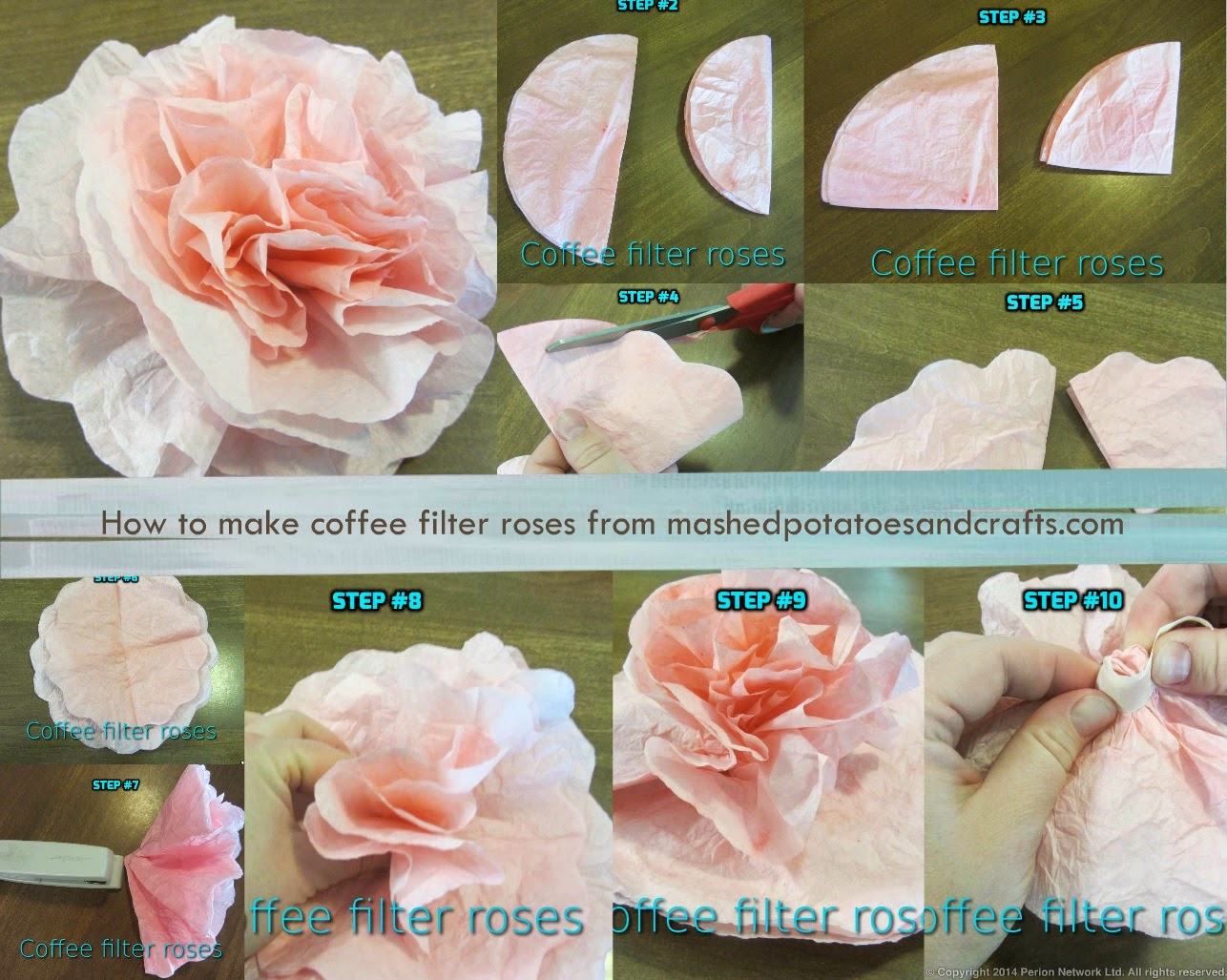 Mashed potatoes and crafts how to create coffee filter roses today i have step by step detailed instructions on how to create beautiful coffee filter roses heres a great collage you can pin and be sure to view my mightylinksfo