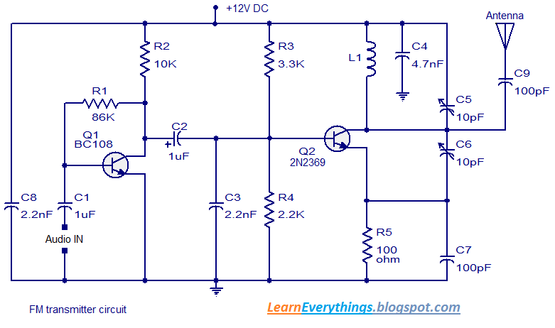 simple diy fm transmitter circuit with schematic