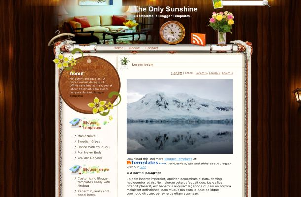 Free Wooden Floral Vector Blogger Layout Template