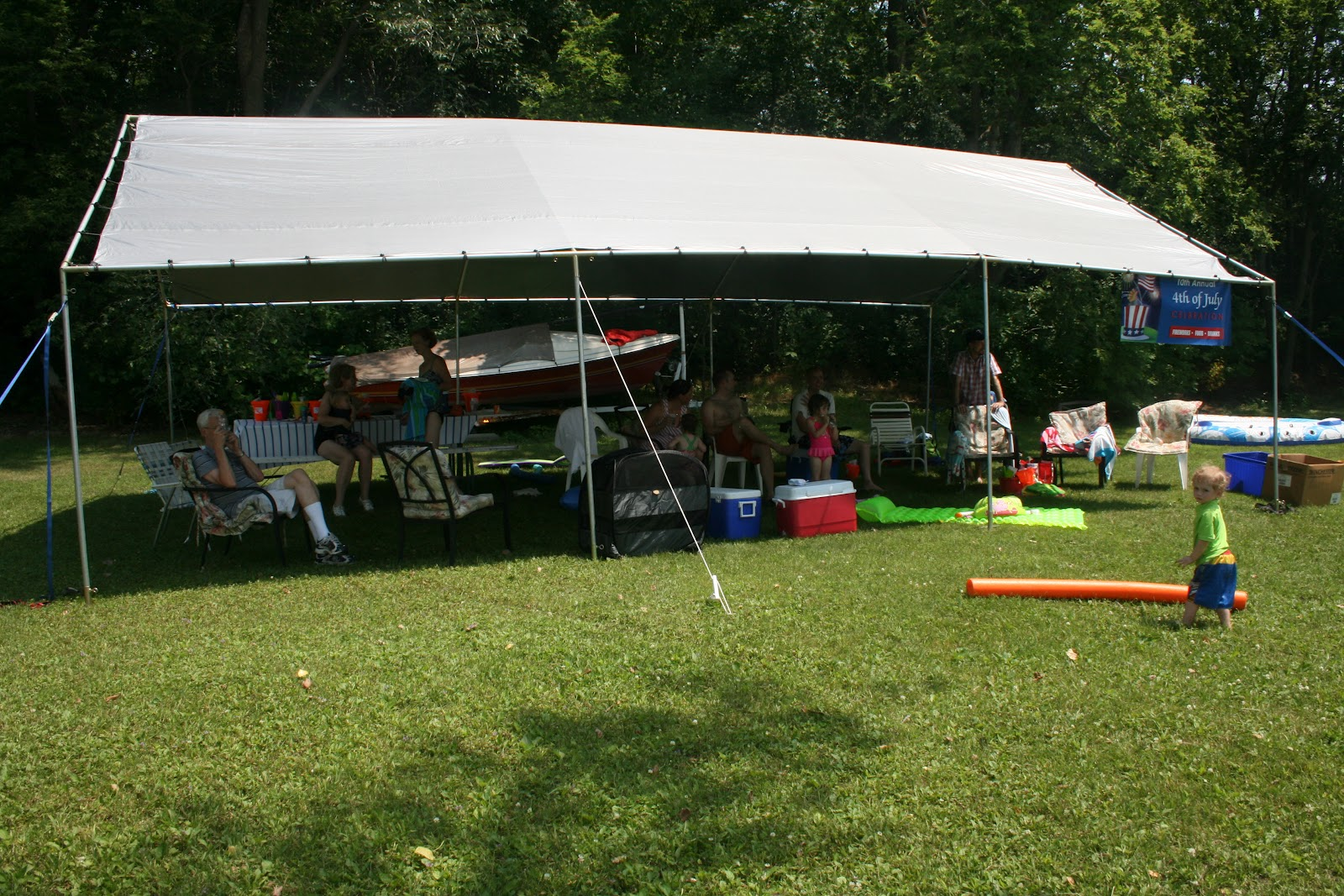 The monster tent once again provided some protection from the sun (heat) & Brodd Family Fun Time: July 2012