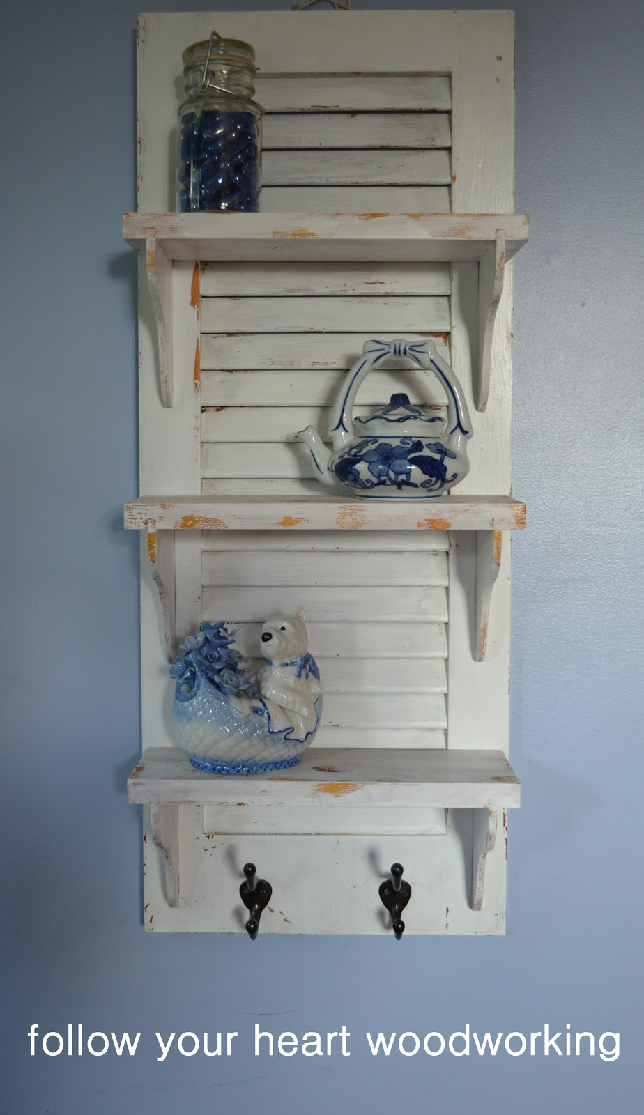 Follow Your Heart Woodworking Shutter Repurposed Into Shelves