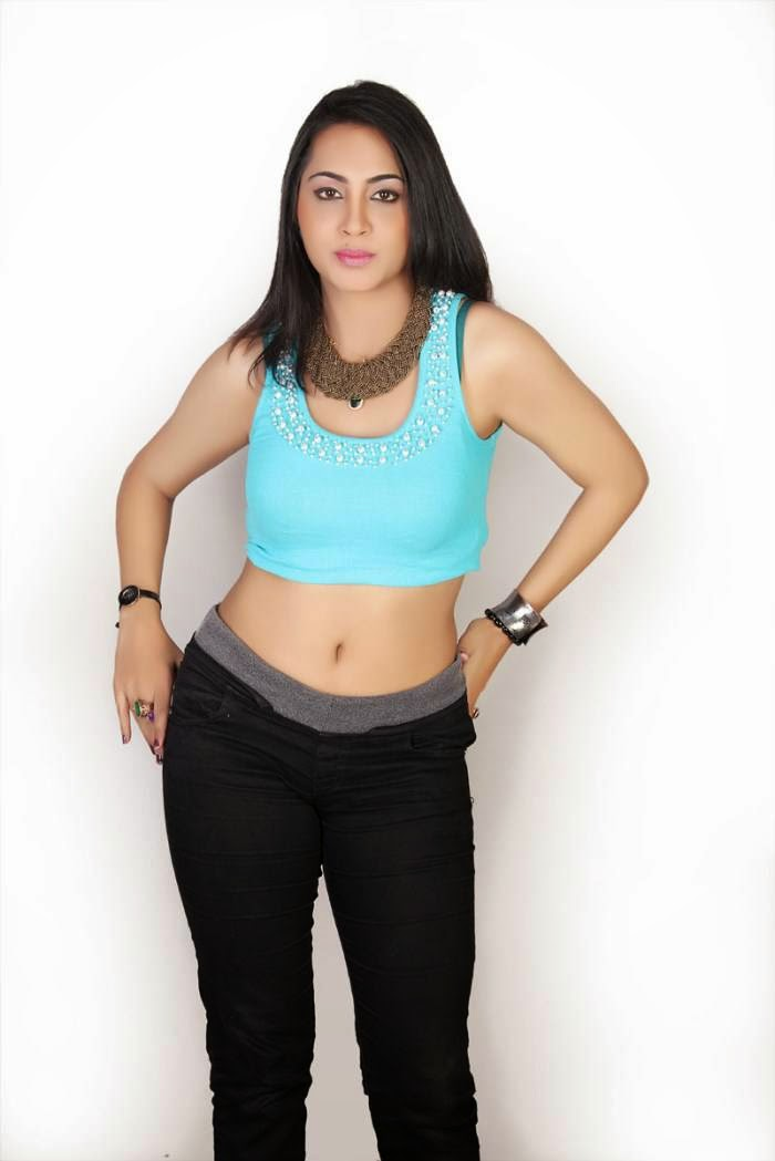 Actress Arshi Khan Latest Cute Hot Cyan Blue Top Dress Navel Show Spicy Photoshoot Gallery