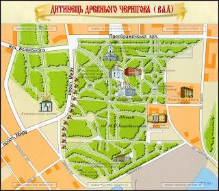 Подробная туристическая план-схема исторического центра города Чернигов.