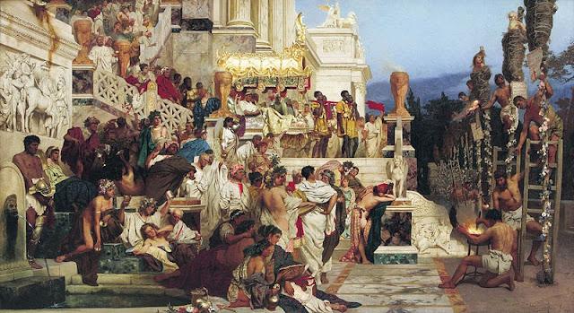 Pintura Antorchas de Nerón que representa la persecución cristiana, obra de Siemiradski Fackeln