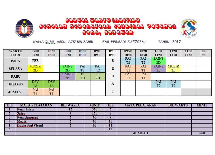 Jadual Waktu Mengajar 2012