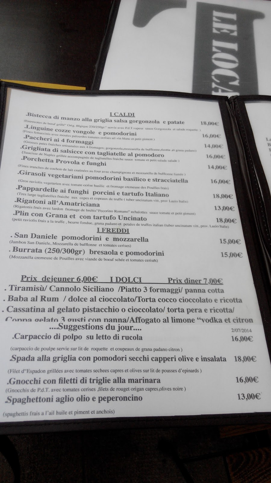 Nice le local for good simple italian food on the port for The local italian menu