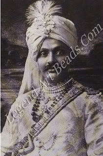 Ranjitsinhji of Nawanagar visited England frequently to indulge his twin passions for cricket and jewels. In this 1912 photograph by Vandyk of London he wears traditional jewels from his well-stocked state treasury.