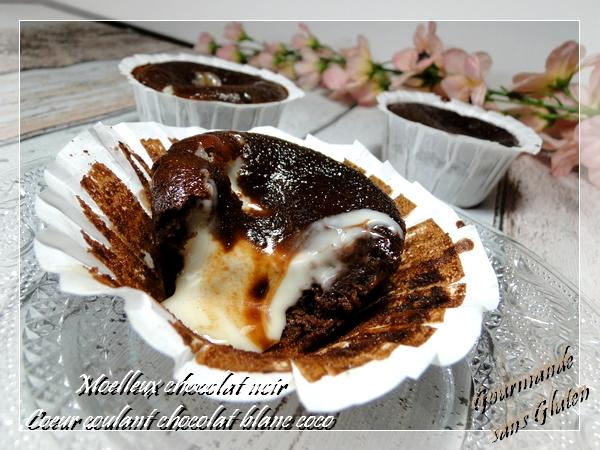 Moelleux chocolat noir, coeur coulant chocolat blanc