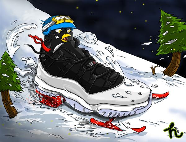 todayshype air jordan xi low snowmobile illustration by