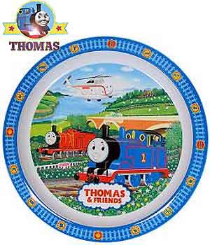 Traditional railroad scenery Harold the helicopter James and Thomas the tank plate crockery for kids