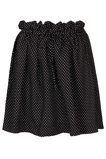 polka dot skirt, paperbag waist,