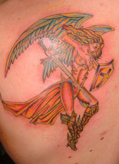 angel tattoo design, angel paramilitary war tattoo