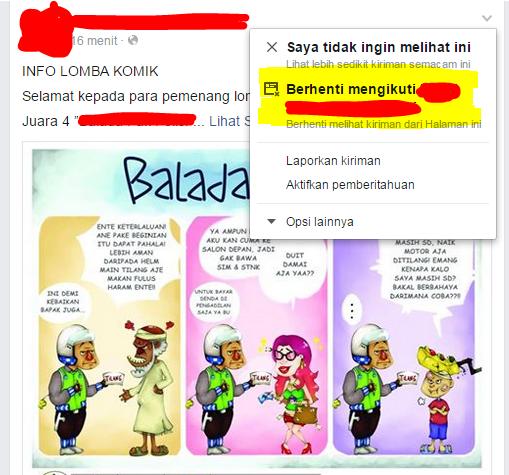 Blokir postingan teman di facebook tanpa melakukan unfriend