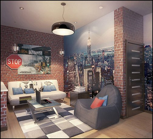 New York Style loft living - modern contemporary decorating ideas - mod retro style furnishings - & Decorating theme bedrooms - Maries Manor: New York Style loft living ...
