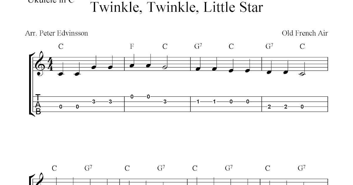 Twinkle, Twinkle, Little Star, free ukulele tab sheet music