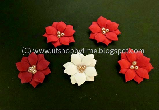 Uts hobby time christmas card and handmade poinsettia paper how to make poinsettia paper flower mightylinksfo