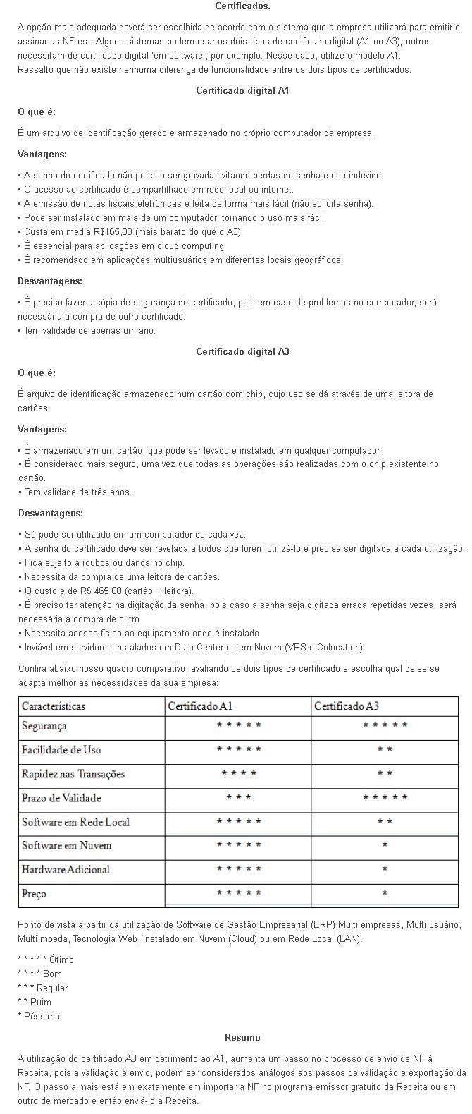 certificado digital A1 recomendável