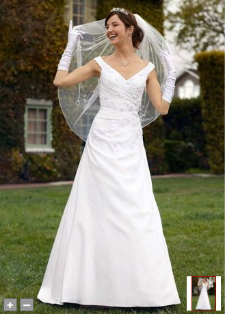 Wedding dresses and wedding accessories satin off the for Side draped wedding dress