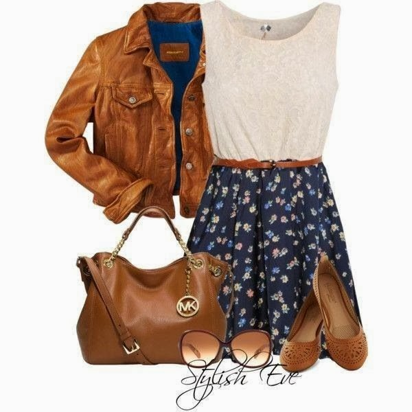 Stylish brown leather jacket, white blouse, skirt, handbag and sandals