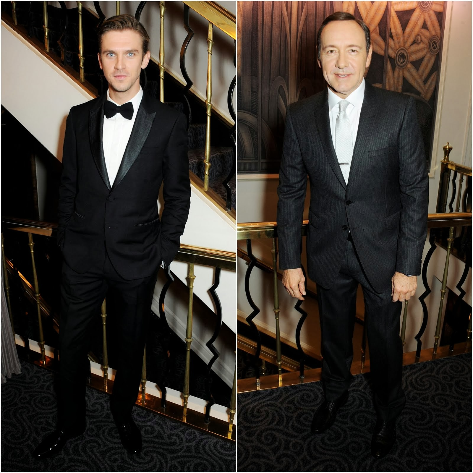 Dan Stevens and Kevin Spacey in Burberry - 59th London Evening Standard Theatre Awards