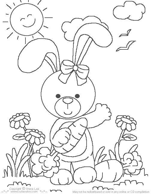 desenho de colorir Lindos Coelhos da Páscoa