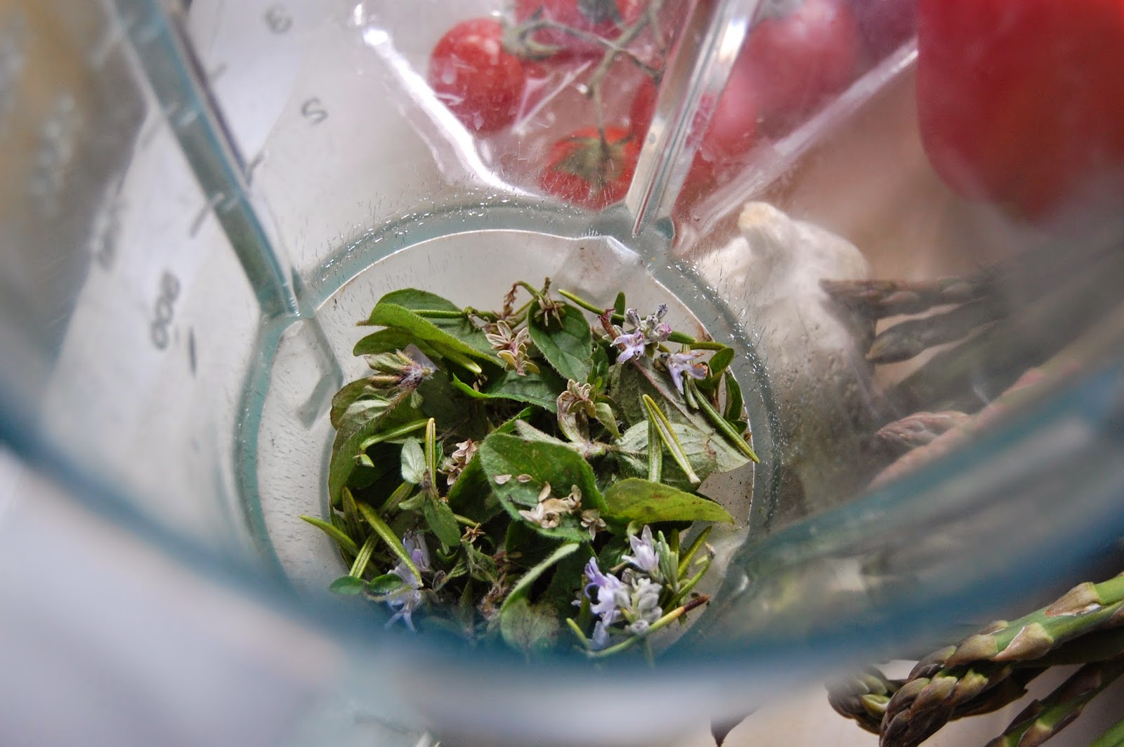 Put herbs in blender