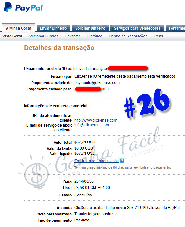 pagamento clixsense dinheiro paypal comprovativo payout payment cashout money
