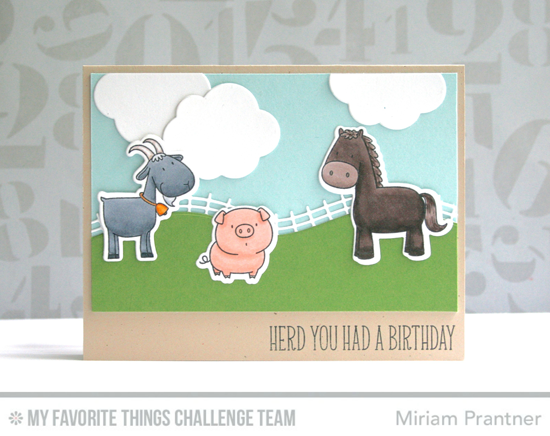Birthday Herd Card by Miriam Prantner featuring the Birdie Brown The Whole Herd stamp set and Die-namics