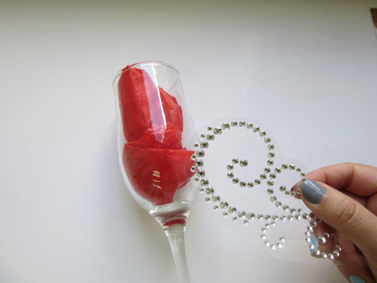 Как клеить кружево на бокал