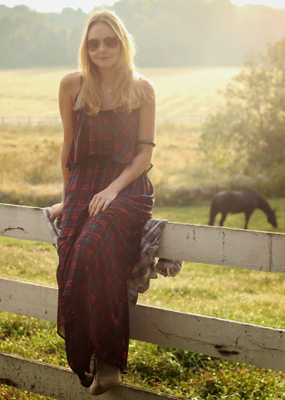 The Steele Maiden: Red plaid maxi dress