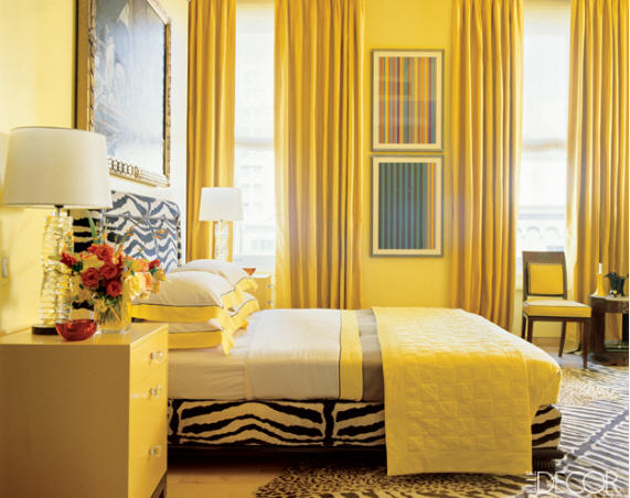 From whimsical to mellow more yellow bedrooms for Bedroom ideas elle decor