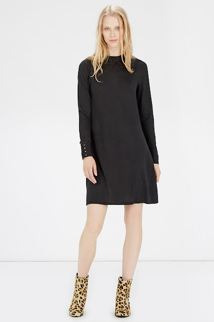 warehouse black button dress, button cuff dress, black long sleeve dress,