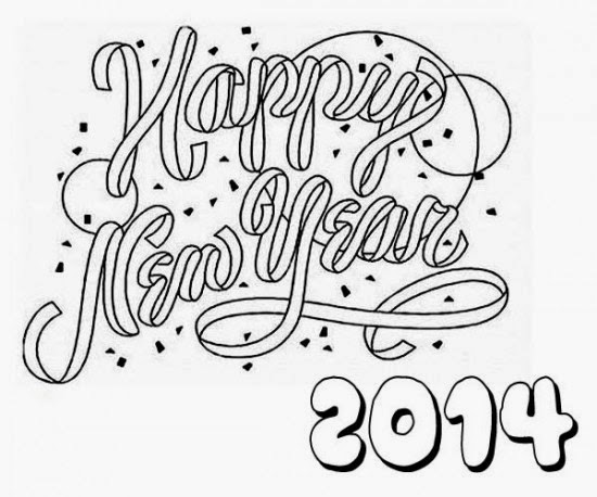 Happy new year 2014 for coloring for New years coloring pages 2014