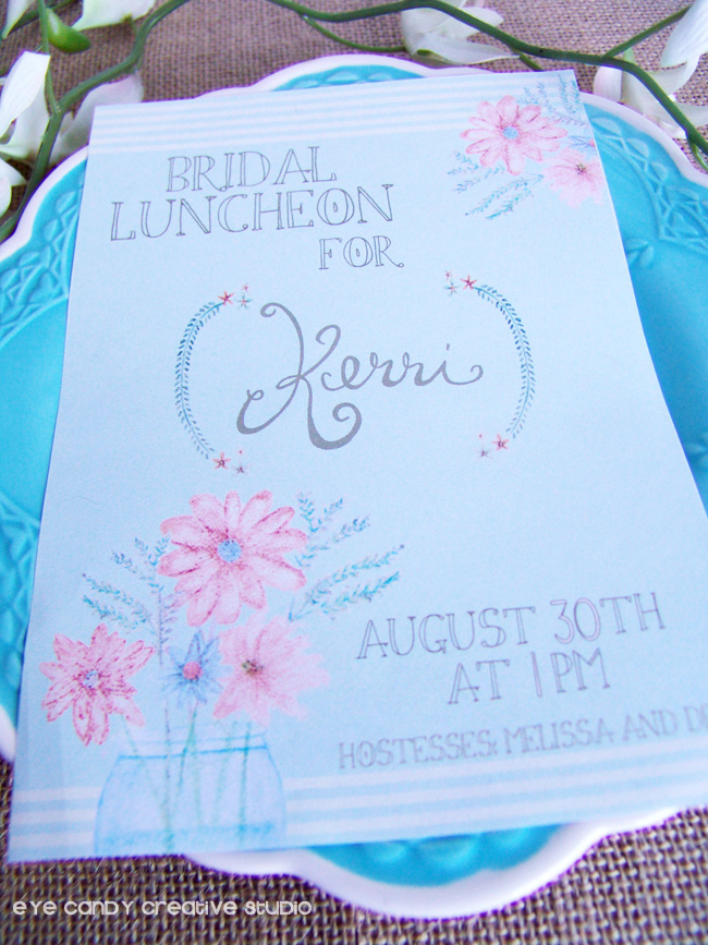 watercolor invite, flowers, hand lettering, burlap, vintage theme, bride