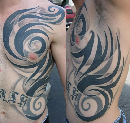 Rib Cage Tribal Tattoos for Men 01