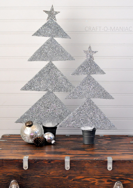 Diy Styrofoam Glittered Christmas Trees Craft O Maniac