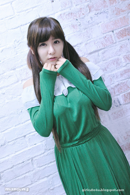 3 Ryu Ji Hye in Green-very cute asian girl-girlcute4u.blogspot.com