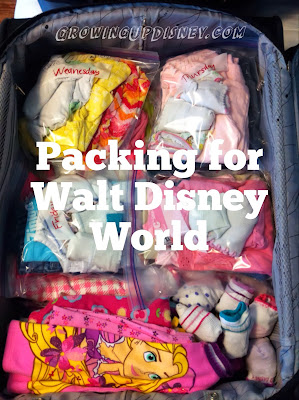 packing children's clothes for Walt Disney World