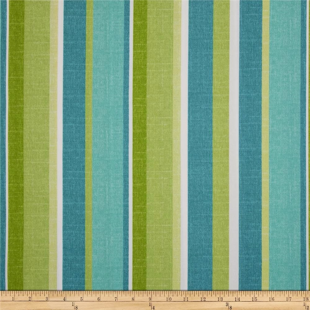 Aqua and Green Striped Outdoor Fabric