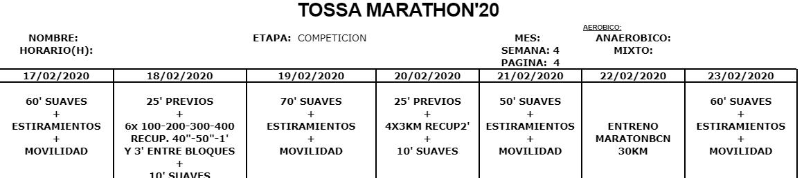 Entreno Maratón Tossa 2020