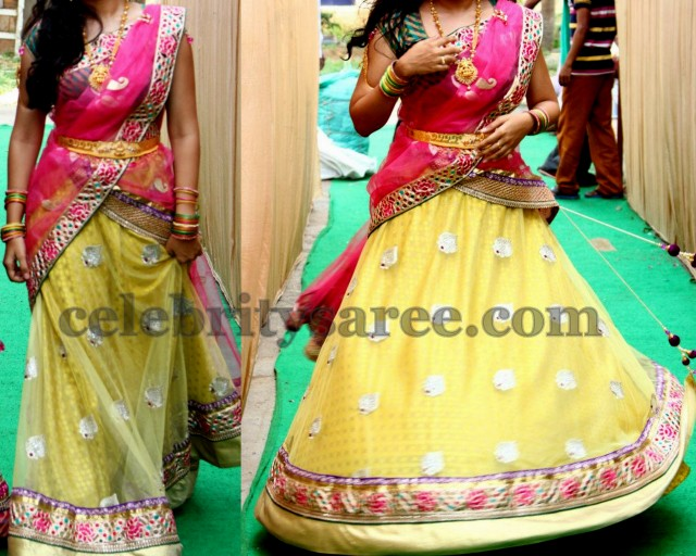 Soft Shiny Net Half Saree