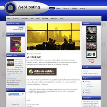 WebHosting (II) blogger template. template blogspot magazine style. download tech background blogger template