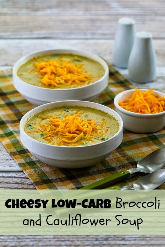 Cheesy Low-Carb Broccoli and Cauliflower Soup found on KalynsKitchen.com
