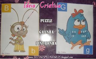 Puzzle Galinha Pintadinha Letra Maiúscula e Minúscula