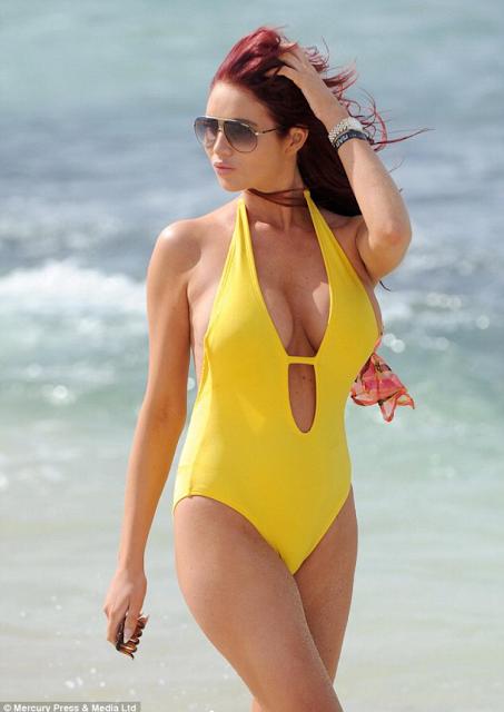 Amy Childs hot pics in yellow bikini