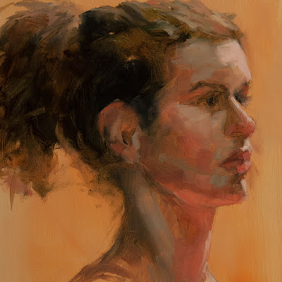 portrait study oil painting woman's head from single live sitting by Shannon Reynolds