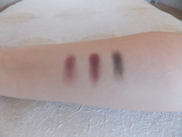 Swatches - MAC Eye Shadows in Yogurt, Blackberry, Sketch and Carbon