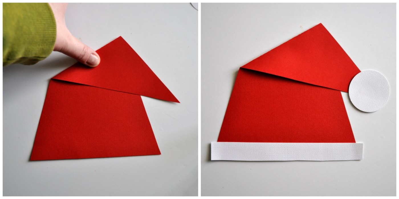 Glue your Santa hat to the top of your paper plate.