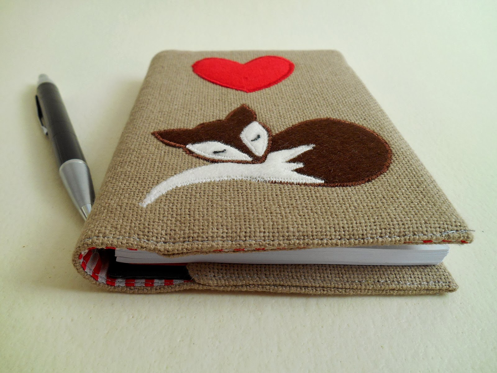 Fox and heart fabric cover for notebook