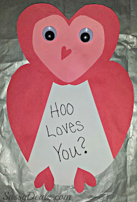 owl valentines day craft card